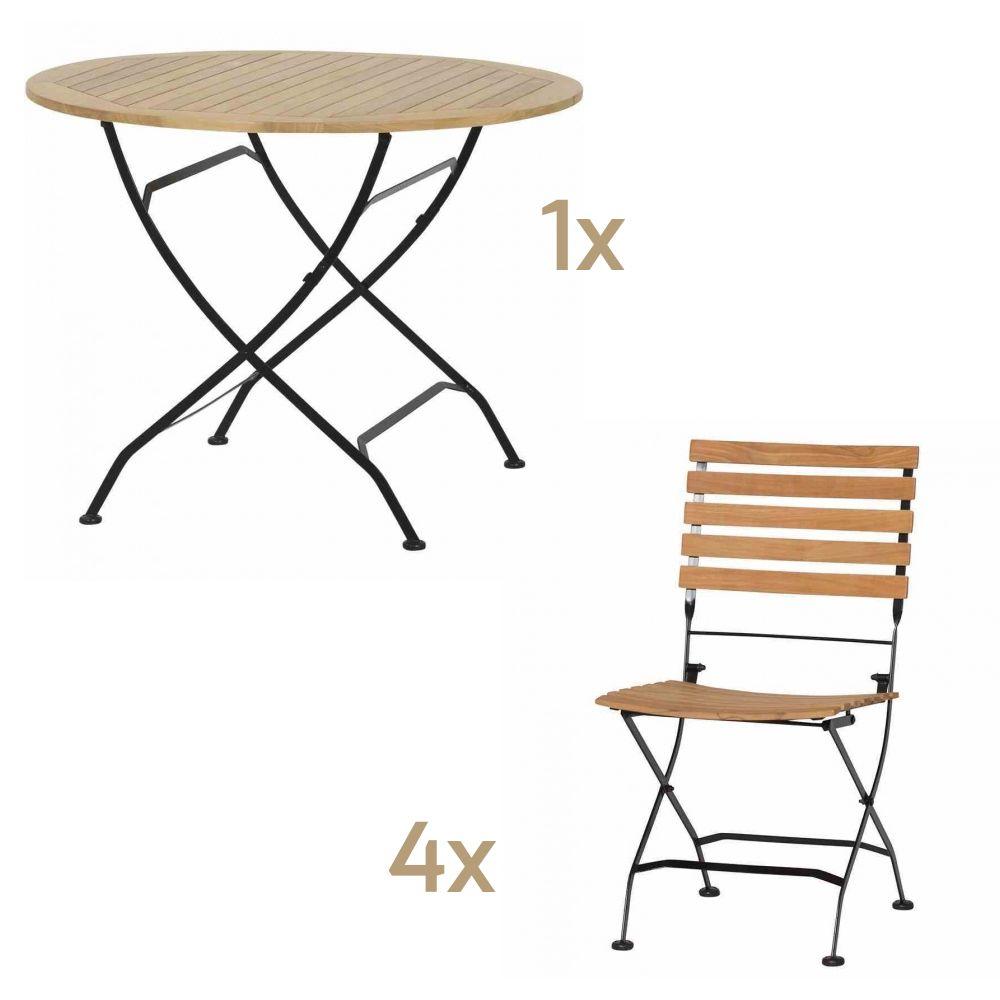 Sitzgruppe Biergartenmobel Set Siena Garden Peru 1 Runder Tisch 4
