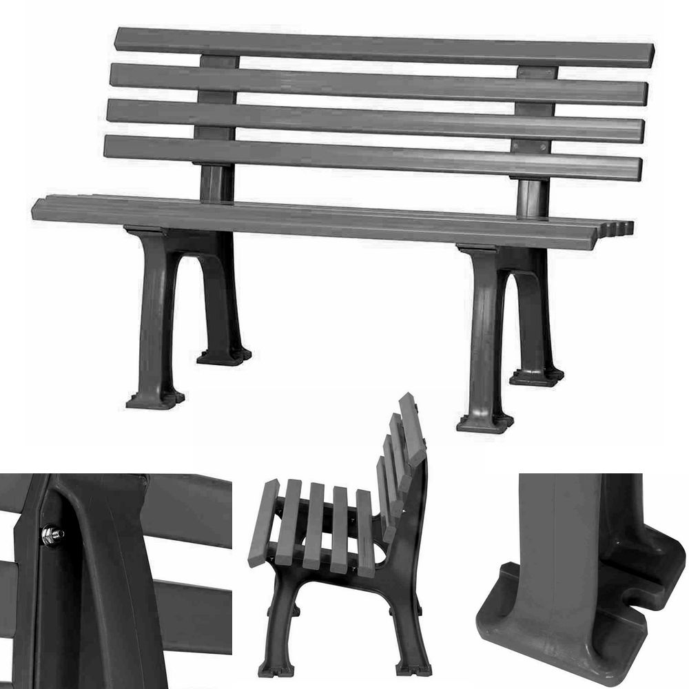 2er kunststoff bank 120cm schwarz 2sitzer park gartenbank. Black Bedroom Furniture Sets. Home Design Ideas